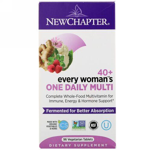New Chapter, 40+エブリウーマンズワンデイリーマルチ、植物性タブレット96錠