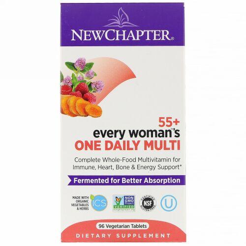 New Chapter, 55+エブリウーマンズワンデイリーマルチ、植物性タブレット96錠