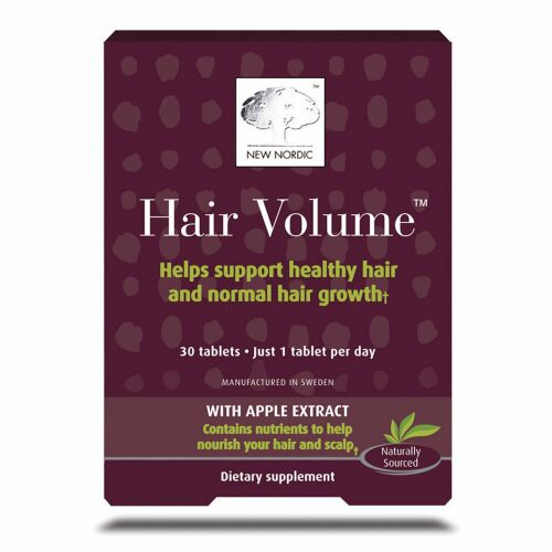 New Nordic, Hair Volume with Apple Extract, 30 Tablets
