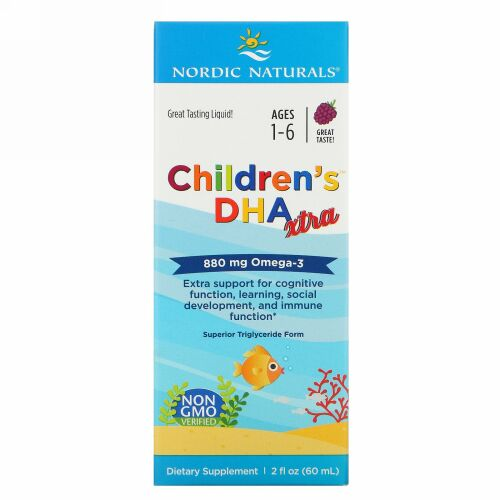 Nordic Naturals, Children's DHA Xtra, Ages 1-6, Berry, 880 mg, 2 fl oz (60 ml)