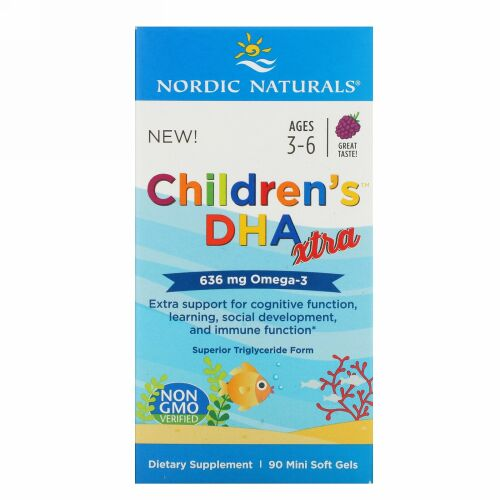 Nordic Naturals, Children's DHA Xtra, Ages 3-6, Berry, 636 mg, 90 Mini Soft Gels