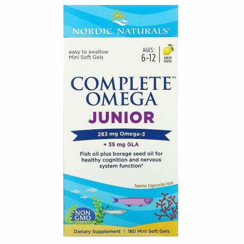 Nordic Naturals, Complete Omega Junior, Ages 6-12, Lemon, 180 Mini Soft Gels