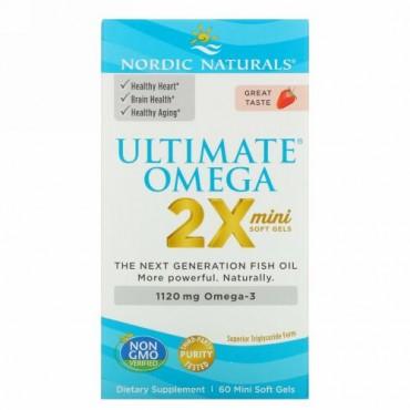Nordic Naturals, Ultimate Omega 2X, Strawberry, 1,120 mg, 60 Mini Soft Gels