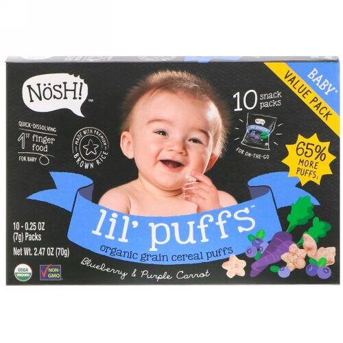 NosH!, Baby Lil 'Puffs、オーガニック穀物シリアルパフ、ブルーベリー&パープルキャロット、10パック、各0.25 oz (7 g) (Discontinued Item)