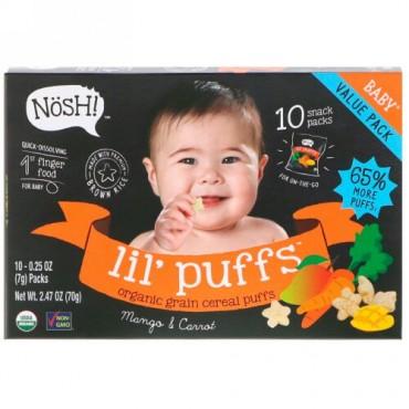 NosH!, Baby Lil 'Puffs、オーガニック穀物シリアルパフ、マンゴー&キャロット、10パック、各0.25 oz (7 g) (Discontinued Item)