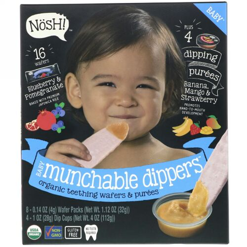NosH!, Baby Munchables Dippers, Organic Teething Wafers & Purees, Blueberry & Pomegranate Wafers with Banana, Mango & Strawberry Purees, 8 Wafer Packs & 4 Dip Cups (Discontinued Item)