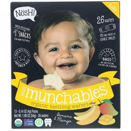 NosH!, ベビーマンチャブルディッパー、オーガニックティージングウエハー、バナナ&マンゴー、13パック、各0.14 oz (4 g) (Discontinued Item)