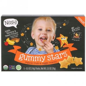 NosH!, 幼児用グミスター、オーガニックフルーツ & 野菜スナック、アップル、バナナ & スイートポテト、5パック、各0.5オンス (14 g) (Discontinued Item)