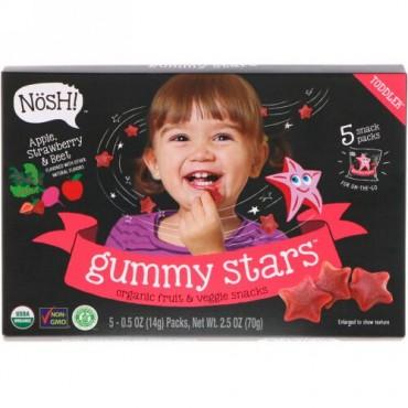 NosH!, 幼児用グミスター、オーガニックフルーツ & 野菜スナック、アップル、ストロベリー & ビート、5パック、各0.5オンス (14 g) (Discontinued Item)