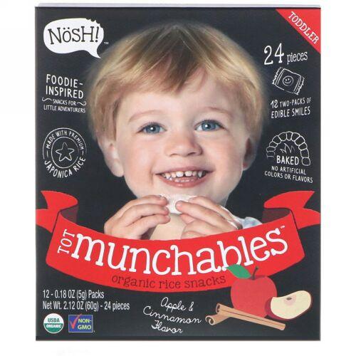 NosH!, 幼児用おやつ、オーガニックライススナック、アップル & シナモンフレーバー、12パック、各0.18オンス (5 g) (Discontinued Item)