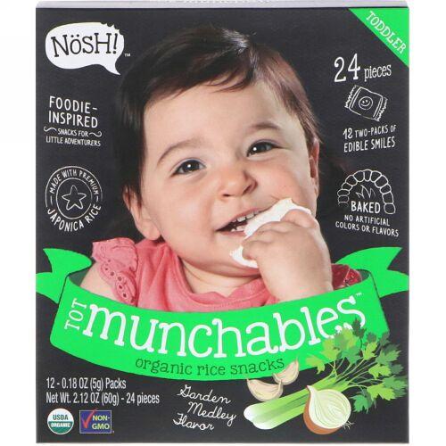 NosH!, 幼児用おやつ、オーガニックライススナック、ガーデンメドレーフレーバー、12パック、各0.18オンス (5 g) (Discontinued Item)