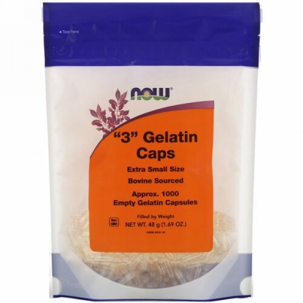 """Now Foods, """"3"""" Gelatin Caps, Extra Small Size, Approx. 1,000 Empty Gelatin Capsules"""