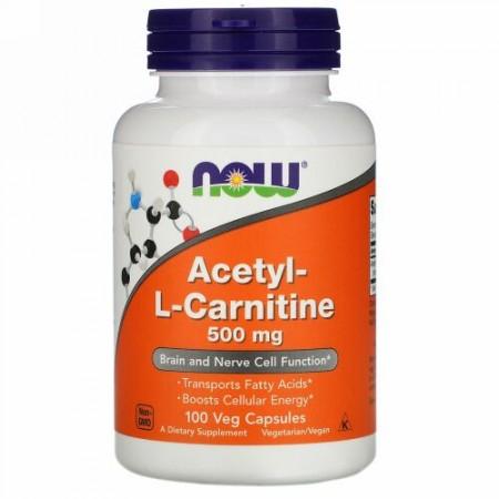 Now Foods, アセチル-Lカルニチン、500mg、ベジカプセル100粒