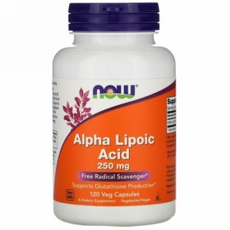 Now Foods, アルファリポ酸、250mg、植物性カプセル120個
