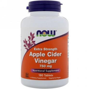 Now Foods, アップルサイダービネガー、エクストラストレングス、750 mg、180粒