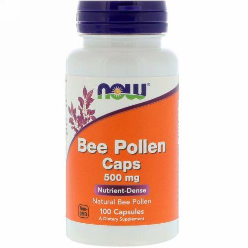 Now Foods, 蜜蜂花粉カプセル, 500 mg, 100 カプセル
