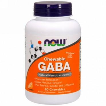 Now Foods, GABA, チュワブル, ナチュラルオレンジフレーバー, チュワブル 90 錠