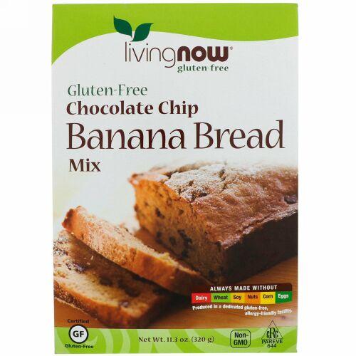 Now Foods, チョコレートチップ・バナナブレッドミックス、グルテンフリー、11.3 oz (320 g)