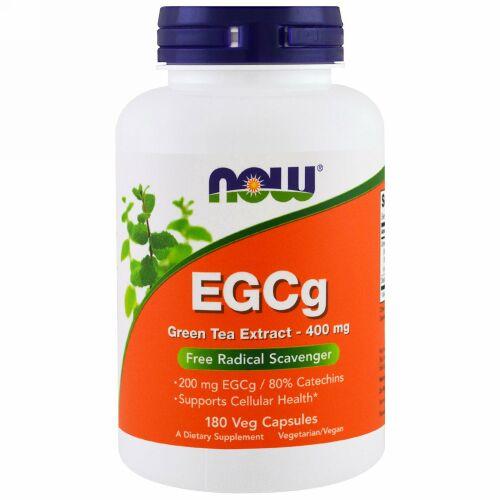 Now Foods, EGCg、緑茶エキス、400 mg、180野菜カプセル