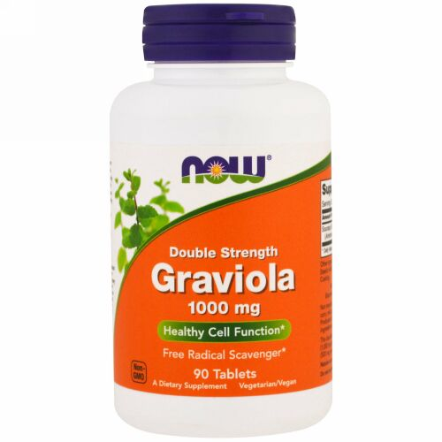 Now Foods, Graviola, Double Strength, 1,000 mg, 90 Tablets