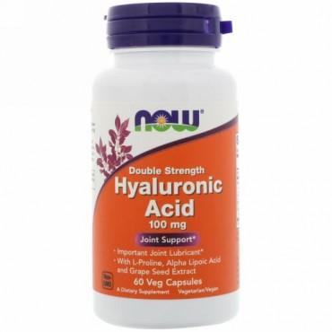 Now Foods, ヒアルロン酸、ダブル強度、100 mg、60植物性カプセル