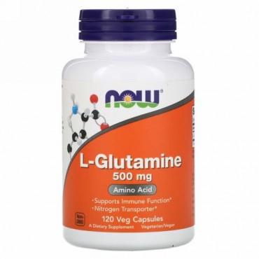 Now Foods, L-グルタミン、500 mg、植物性カプセル 120粒