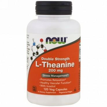 Now Foods, L-テアニン, ダブルストレングス, 200 mg, 120植物カプセル