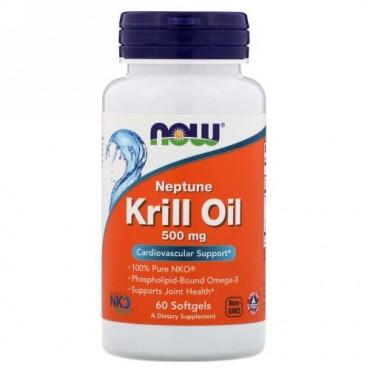 Now Foods, ネプチューンクリルオイル、500 mg、60ソフトジェル