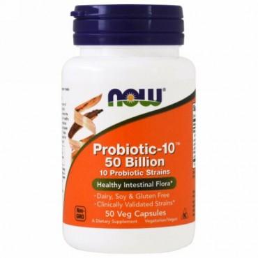 Now Foods, Probiotic-10(プロバイオティック-10)、500億、ベジカプセル50粒