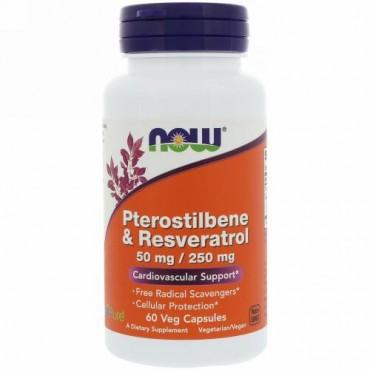 Now Foods, プテロスチルベン & レスベラトロール、50 mg / 250 mg、60ベジカプセル (Discontinued Item)