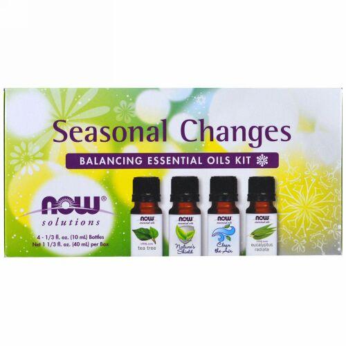Now Foods, 季節の移り変わり、バランシング・エッセンシャルオイルキット、4 本、各1/3液量オンス (10 ml)