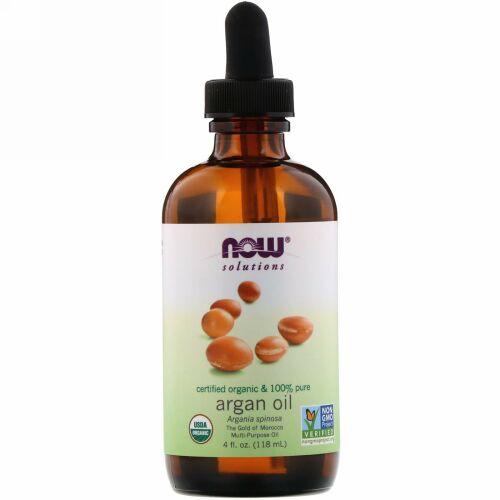 Now Foods, ソリューションズ、認定オーガニック&100%純アルガンオイル、118 ml(4 fl oz)