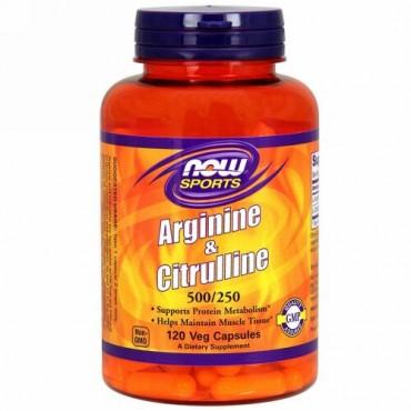Now Foods, スポーツ, アルギニン & シトルリン, 500 mg /250 mg, 120植物カプセル