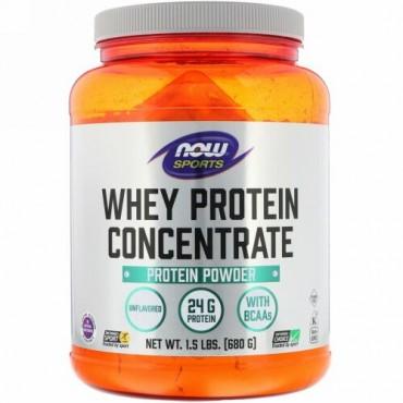 Now Foods, スポーツ, ホエイタンパク質濃縮, ナチュラル味無し, 1.5 ポンド (680 g)