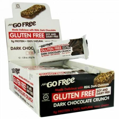 NuGo Nutrition, フリー, グルテンフリー, ダークチョコレートクランチ, 12 本, 各 1.59 オンス (45 g)
