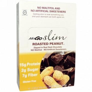 NuGo Nutrition, Slim, Gluten Free, Roasted Peanut, 12 Bars, 1.59 oz each (Discontinued Item)