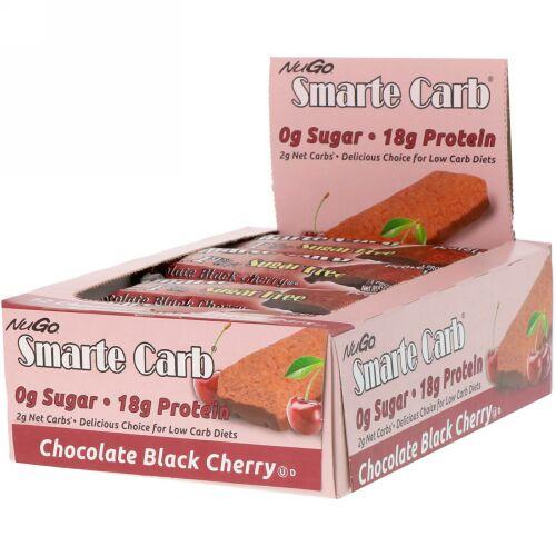 NuGo Nutrition, Smarte Carb Bar, Chocolate Black Cherry, 12 Bars, 1.76 oz (50 g) Each