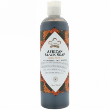 Nubian Heritage, アフリカンブラックソープ、ボディウォッシュ、デトックス&バランシング、13液体オンス(384 ml)