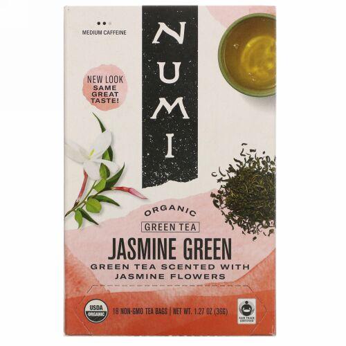 Numi Tea, Organic Green Tea, Jasmine Green, 18 Tea Bags, 1.27 oz (36 g)