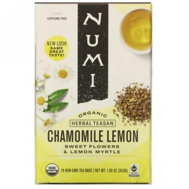 Numi Tea, Organic Herbal Teasan, Chamomile Lemon, Caffeine Free, 18 Tea Bags, 1.08 oz (30.6 g)