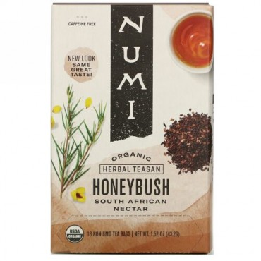 Numi Tea, Organic Herbal Teasan, Honeybush, Caffeine Free, 18 Tea Bags, 1.52 oz (43.2 g)