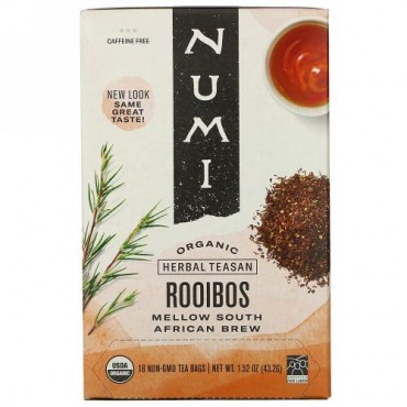 Numi Tea, Organic Herbal Teasan, Rooibos, Caffeine Free, 18 Tea Bags, 1.52 oz (43.2 g)