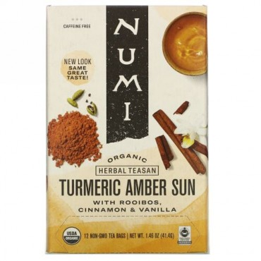 Numi Tea, Organic Herbal Teasan, Turmeric Amber Sun, Caffeine Free, 12 Tea Bags, 1.46 oz (41.4 g) (Discontinued Item)