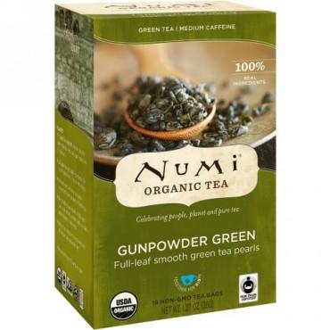 Numi Tea, Organic Tea, Green Tea, Gunpowder Green, 18 Tea Bags, 1.27 oz (36 g) (Discontinued Item)