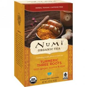 Numi Tea, オーガニックティー、ハーバルティーサン、ターメリックスリールーツ、カフェインフリー、12ティーバッグ、1.42オンス (40.2 g) (Discontinued Item)