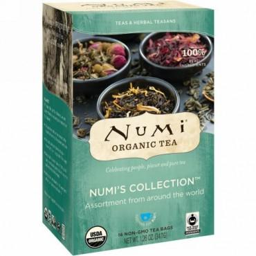 Numi Tea, オーガニックティー、ティー&ハーブティー、Numiコレクション、非遺伝子組み換えティーバッグ16包、1.26オンス (34.7 g)