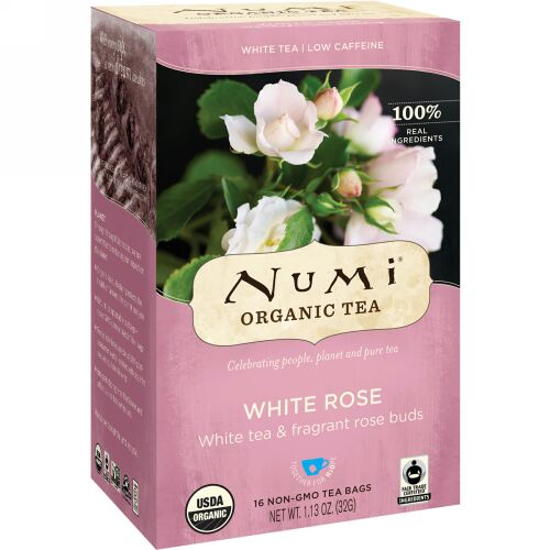 Numi Tea, オーガニックティー、ホワイトティー、ホワイトローズ、ティーバッグ16個、32g(1.13oz)