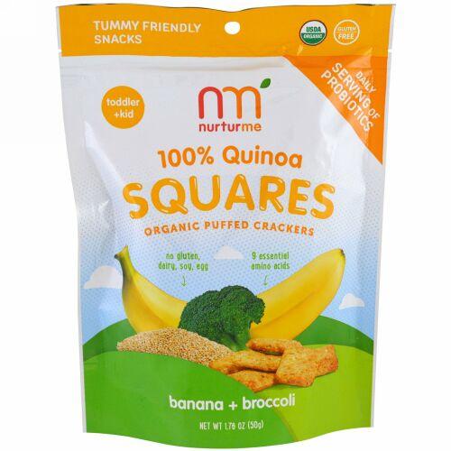 NurturMe, 100%キノアスクエア、オーガニック・パフクラッカー、バナナ+ブロッコリー、1.76 oz (50 g) (Discontinued Item)