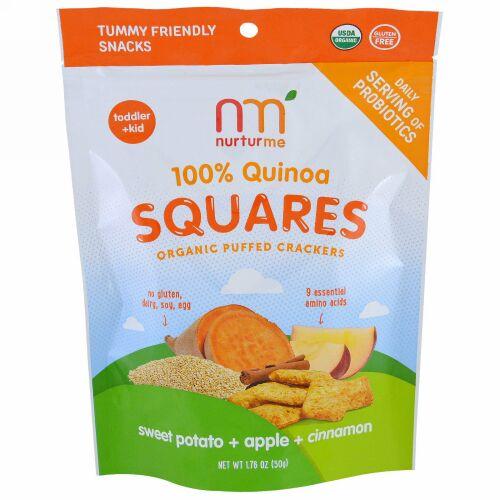 NurturMe, Quinoa Squares, Organic Puffed Crackers, Sweet Potato + Apple + Cinnamon, 1.76 oz (50 g) (Discontinued Item)