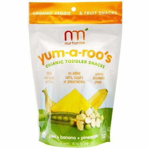 NurturMe, オーガニック トドラースナック、ヤム-ア-ルーズ、エンドウ豆 + バナナ + パイナップル、1 oz (28 g) (Discontinued Item)